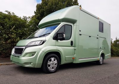 Aeos 3.5 tonne Compact horsebox in light metallic green