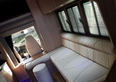 Helios 7.5 tonne horsebox living with cream upholstery