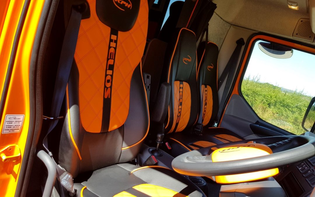 Helios horsebox bespoke leather upholstery - seatbelts for three